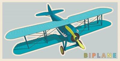 Bild Blauer Doppeldecker in Vintage und Farbgestaltung. Modell Flugzeug Propeller mit zwei Flügeln. Alte Retro Flugzeuge für Posterdruck entworfen. Schön und realistisch gezeichneten Vektor fliegenden Dopp