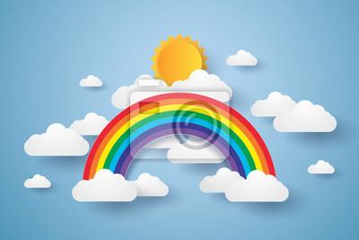 Bild Blauer Himmel mit Regenbogen und Wolke, Papier Kunst Stil