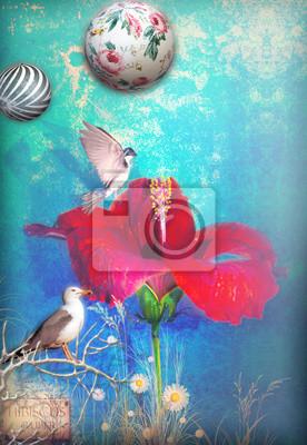Blauer Hintergrund mit Hibiskus und Vögel