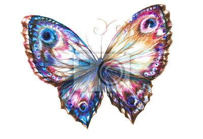 Blauer Schmetterling handbemalt.