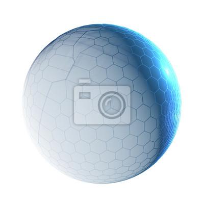 Bild Blauer Techno Mond auf einem weißen Hintergrund - Design-Element