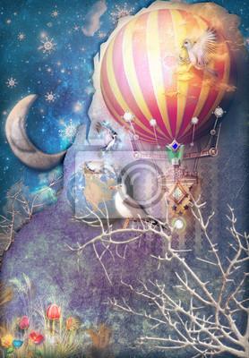 Blauer und sternenklarer Hintergrund mit Heißluftballon