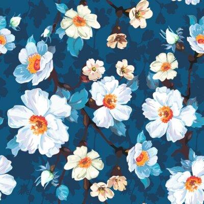 Blaues Blumen nahtloses Muster