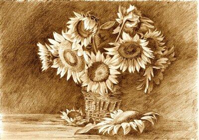 Bild Bleistiftzeichnung eines Bouquet von Sonnenblumen in der Vase Großansicht