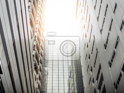 Bild Blick auf die beiden städtischen Gebäude, Betongebäude, Teil des Glasgebäudes