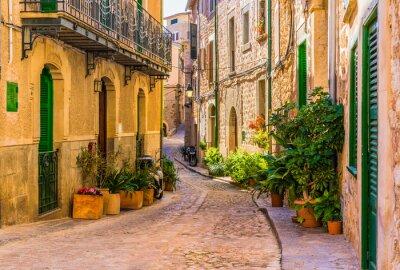 Bild Blick auf eine romantische Straße eines alten mediterranen Dorfes in Spanien