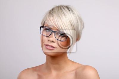 Blonde Frau Mit Brille Leinwandbilder Bilder Optische Speicher