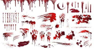 Bild Blood collection, Happy Halloween decoration, Vector bloody horror drop, drip, splatter, creepy splash, spot. Realistic blood on transparent background, isolated.