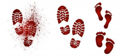 Bild Bloody foot print. Dead, blood, horror and dirty red footstep for halloween party Flat vector pictogram. Scary elements with stain, splatter and streams. Bleeding baby feet.