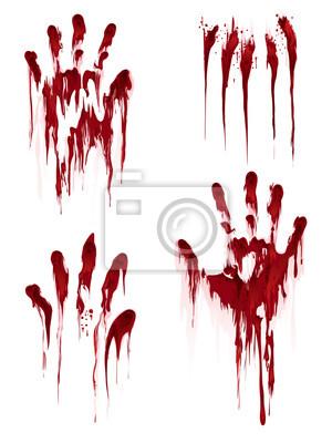 Bild Bloody Hand drucken isoliert auf weißem Hintergrund. Horror scary Blut schmutzig Handabdruck und Fingerabdruck Vektor-Illustration
