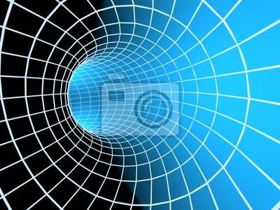 Blue abstract 3d Tunnel aus einem Raster