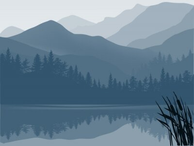 Bild blue and grey lake in mountain forest