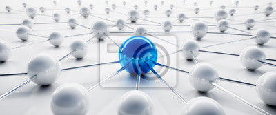 Bild Blue and white sphere network structure - abstract design connection design - 3D illustration