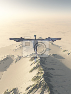 Blue Dragon Flying over Snow Covered Winter Mountains - fantasy illustration