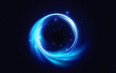 Bild Blue flare circle, glowing light effect vector illustration. Neon glow energy shape, abstract magic luminous swirls, fantasy round portal and glitter particle sparkles on dark transparent background