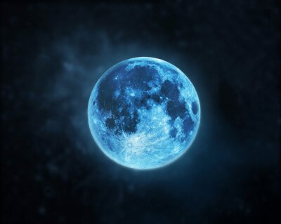 Bild Blue full moon atmosphere at dark night sky background, Elements of this image furnished by NASA