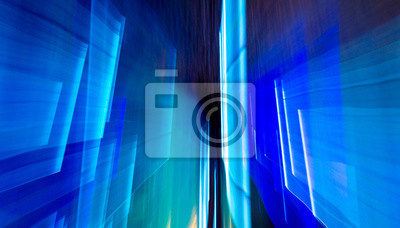 Bild Blue light indoors in motion as abstract background