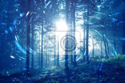 Blue Nebelwald Märchen mit Spiralkreis Glühwürmchen Bokeh Hintergrund. Farbfilter-Effekt verwendet.