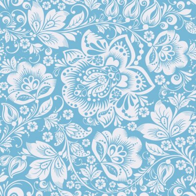 Blue Ornamental Flowers Seamless Pattern