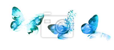 Bild blue paint butterfly. Abstract mosaic of butterflies. Vector illustration