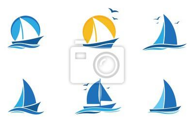 Bild blue Sailing boat logo set. icon abstract vector template. Sailboat on the waves. Vector illustration