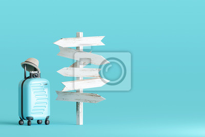 Bild Blue suitcase and hat, camera with signpost on pastel blue background. travel concept. 3d rendering