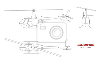 Blueprint des hubschraubers. top-, front- und seitenansicht ...