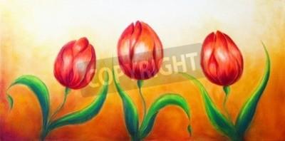 Bild Blumen-Motiv, drei tanzen rote Tulpe Blumen, schöne helle bunte Malerei auf ocre Hintergrund
