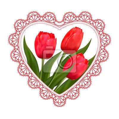 Blumen Tulpen Spitze Und Herz Fur Valentinstag Hochzeit Und