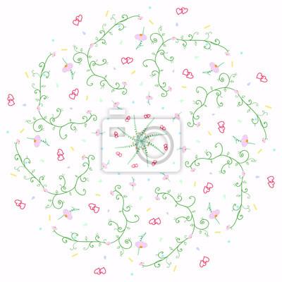 Blumen und herzen muster vektor-illustration. leinwandbilder ...