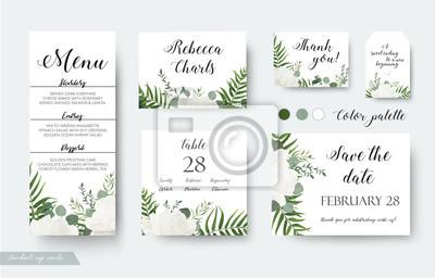 Blumendesign Der Hochzeitskarten Rsvp Menu Tischnummer Danke