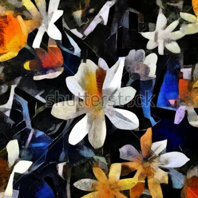 Bild Blumengesteck im Stil des abstrakten Kubismus. Das Bild wird von Öl auf Leinwand mit Elementen der Acrylmalerei gemacht.