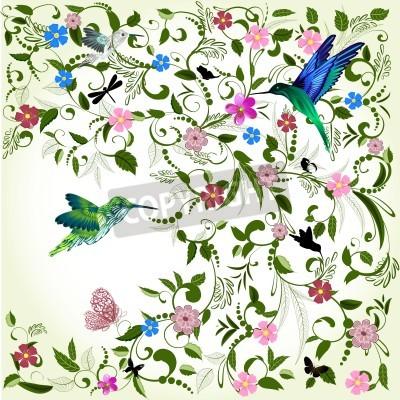 Bild Blumenhintergrund mit Vogel