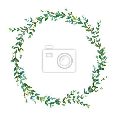 Blumenkranz Garland Eines Eukalyptus Branches Frame Einer Krauter