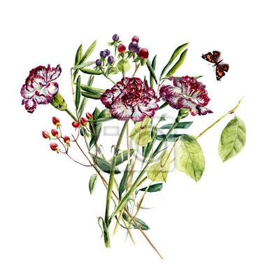 Ganz und zu Extrem Blumenstrauß mit nelke blume und schmetterling. grußkarte #NM_06