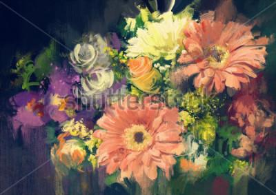 Bild Blumenstraußblumen in der Ölgemäldeart, Illustration