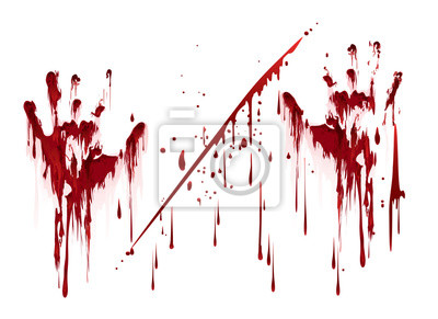 Bild Blutige Handabdrücke mit Blutstropfen. Abbildung