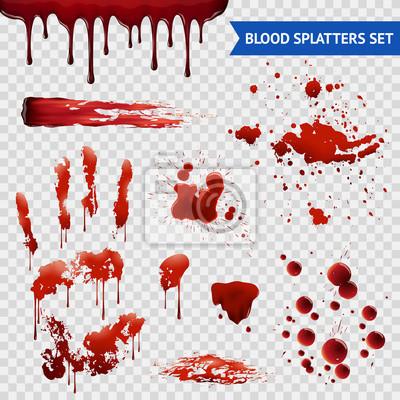 Bild Blutspritzer Realistische Proben Transparente Set