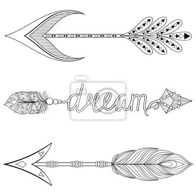 Bohemian Dream Pfeile Mit Federn Für Erwachsene Malvorlagen