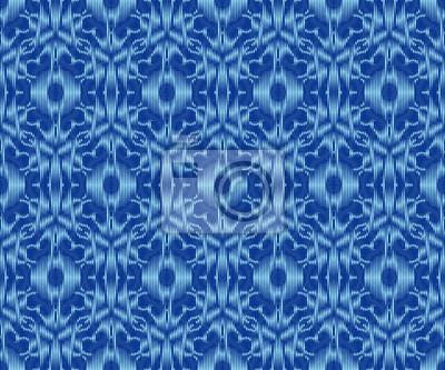 Bohemian patterned fabric indigo dyed ikat seamless pattern.