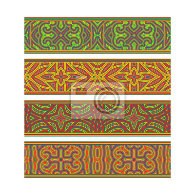 Bohemian patterned ribbon design. Move ornament elements to Brush Panel to create vector pattern brushes.