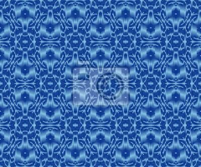 Bohemian patterned textile texture indigo dyed ikat seamless pattern.