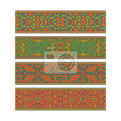Bohemian tribal ribbon design. Move ornament elements to Brush Panel to create vector pattern brushes.