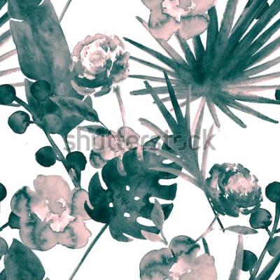 Bild Böhmisches Türkis-Blau-Retro- exotisches Blumenaquarell-nahtloses Muster. Weicher weiblicher Gewebe-Hintergrund mit Banane, Fan Leaves, Rosen. Blumenaquarell-nahtlose Muster-tropische Tapeten-Drucke.