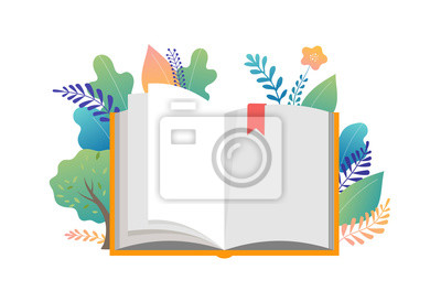 Bild Book festival concept - a group of tiny people reading a huge open book. Vector illustration, poster and banner