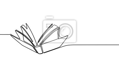 Bild Book one line drawing banner. Continuous hand drawn minimalist minimalism design isolated on white background vector illustration.