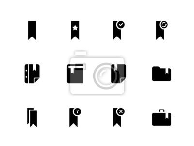 Bookmark, Tag, Lieblings-Symbole auf weißem Hintergrund.
