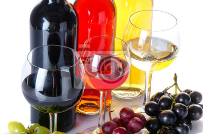 Bild Bootles and glasses of wine with black, red and white grapes