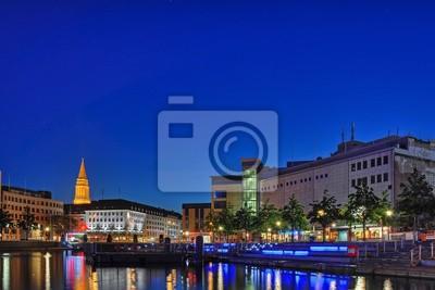 Bootshafen in Kiel bei Nacht