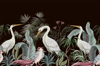 Bild Border in chinoiserie style with storks and peonies. Vector.